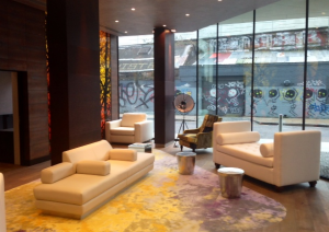 london apartment building lobby in Shoreditch