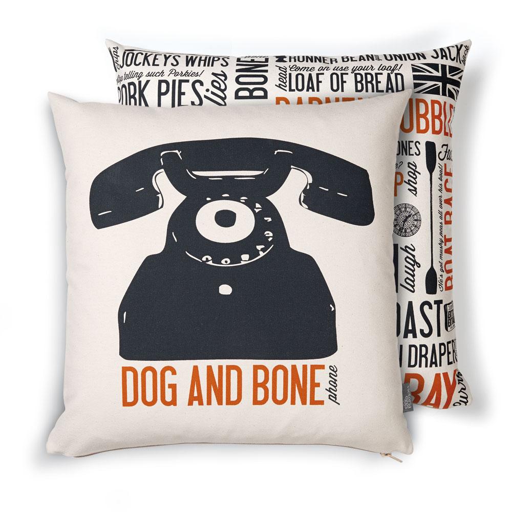 Dog-and-Bone-Cockney-Cushion-Orange