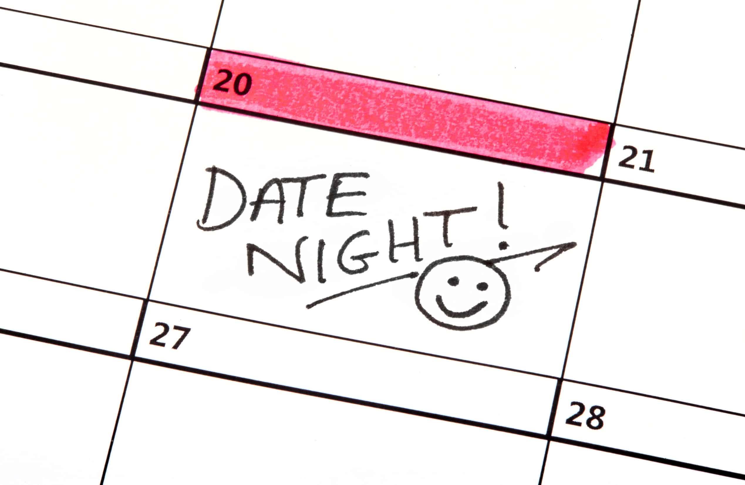 40217683 - a date night highlighted on a calendar.