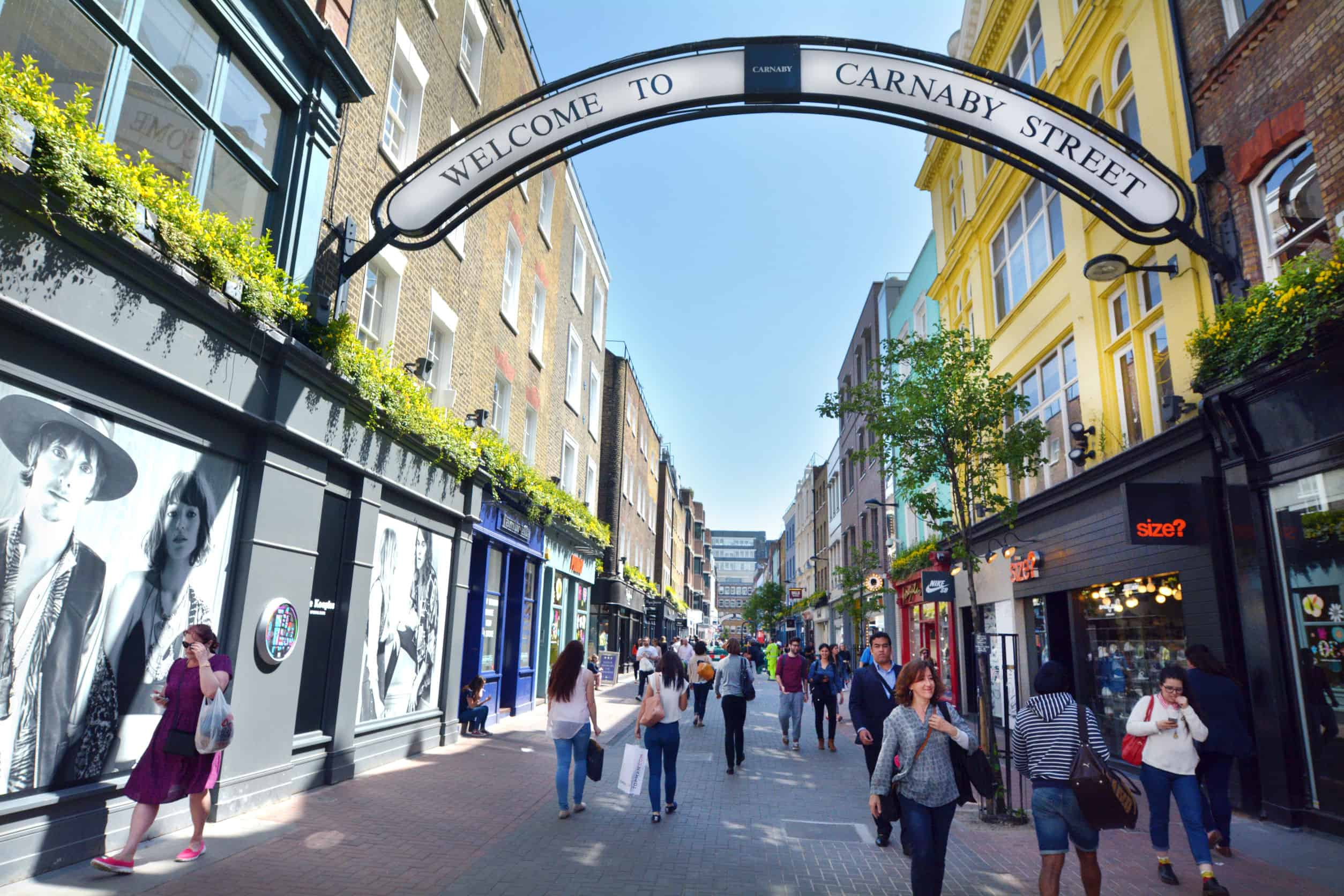 london uk.carnaby street is a popular pedestrianised shopping street in the city of westminster, london