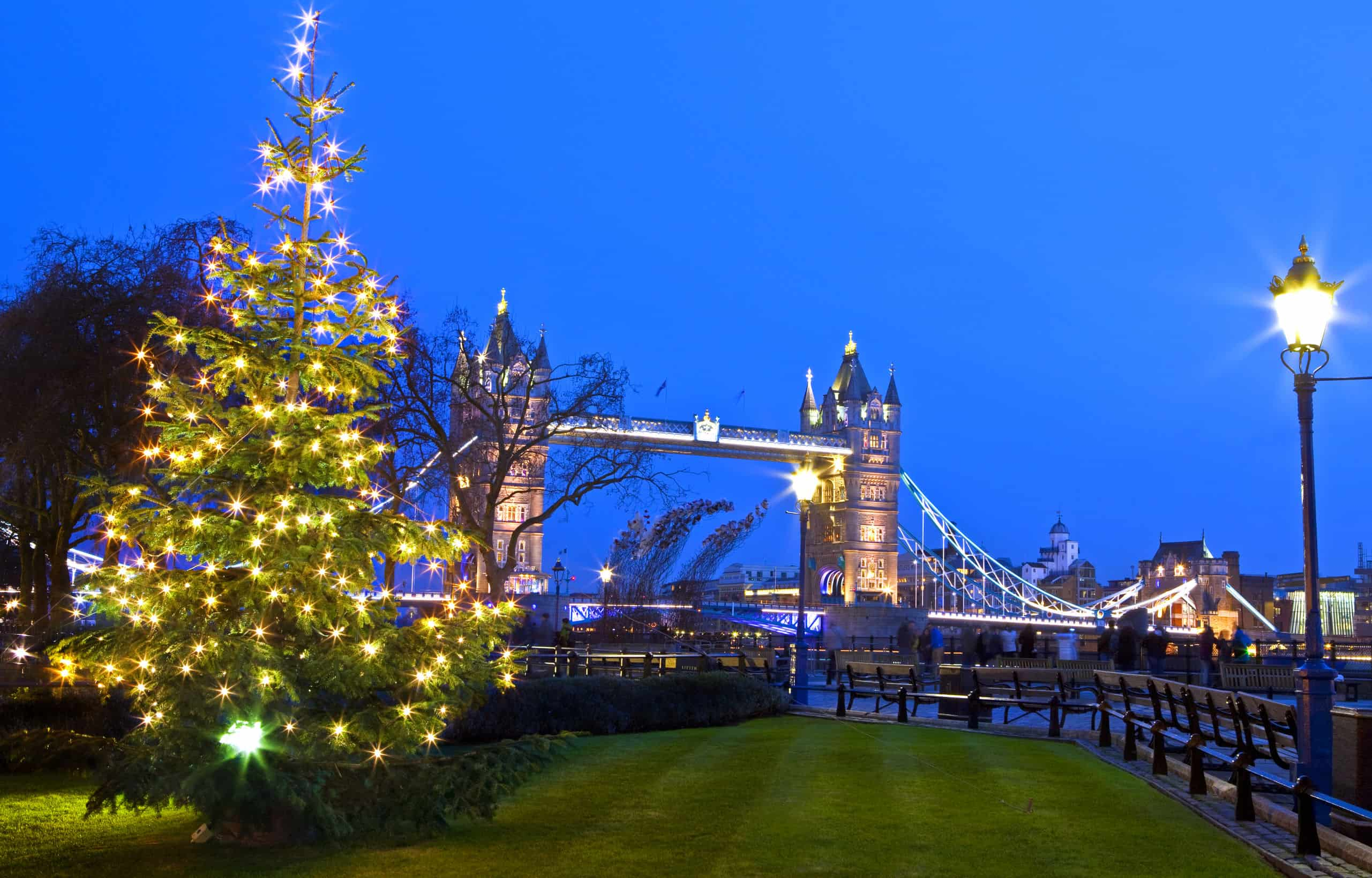 34634585 - a beautiful view of tower bridge in london during christmastime.