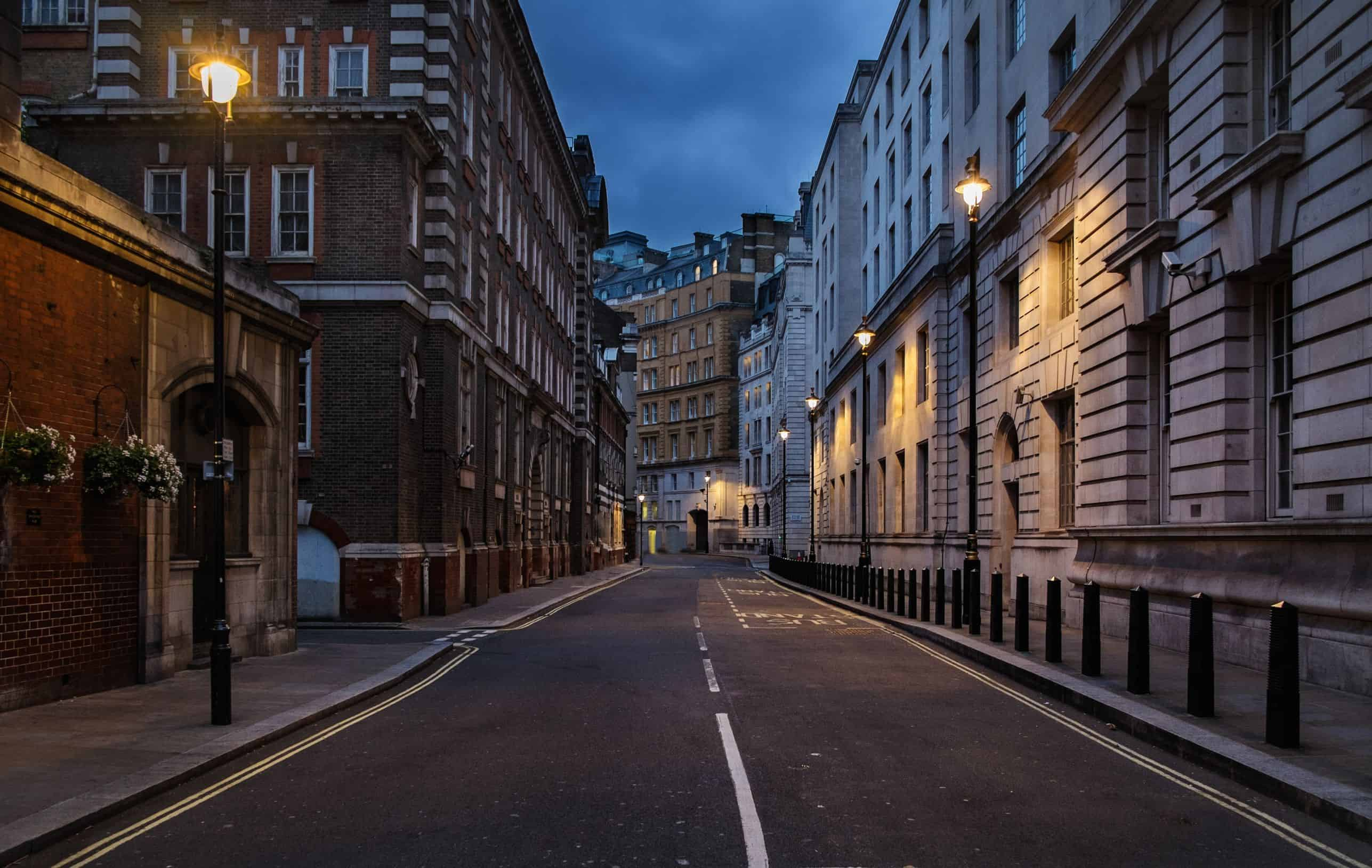 32976093 - empty street of london at night